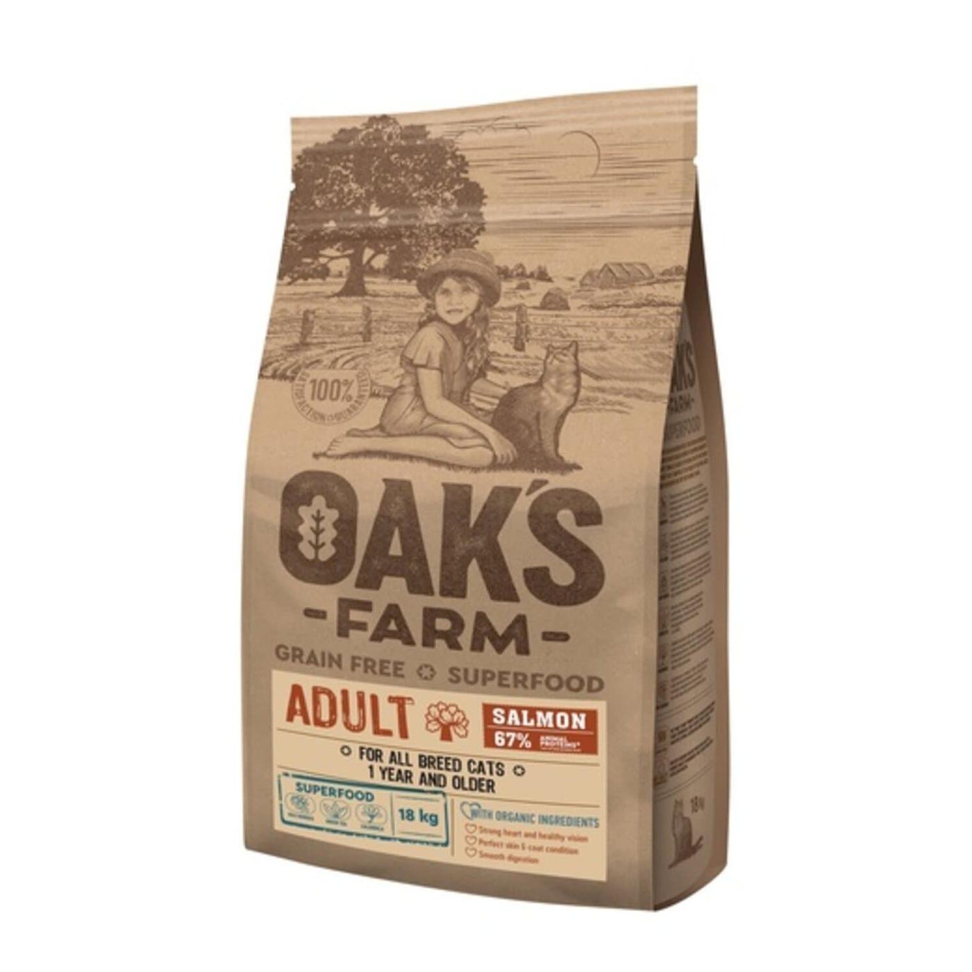 Oaks Farm GF сухой корм для кошек, лосось 18 кг