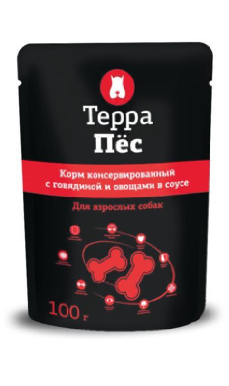 Терра Пёс влажный корм для взрослых собак всех пород, с говядиной и овощами в соусе 100 гр