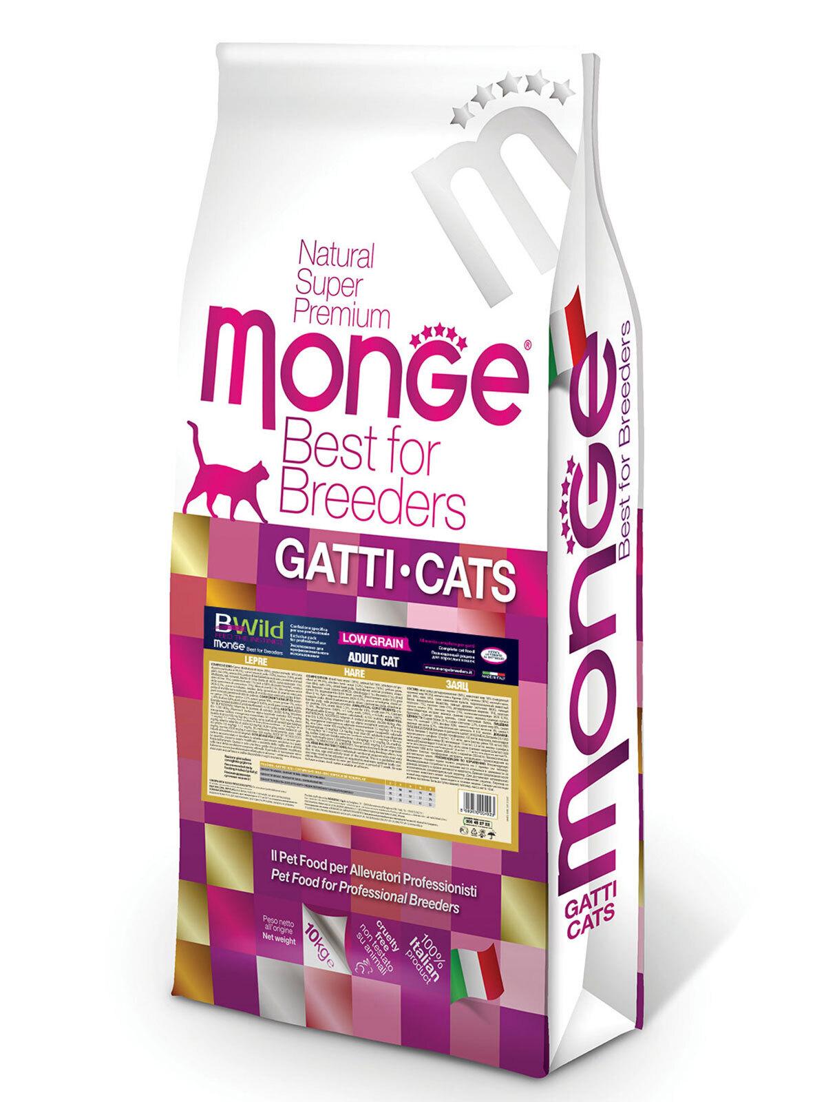Monge Cat BWild Low Grain корм для взрослых кошек всех пород, низкозерновой, мясо зайца 10 кг