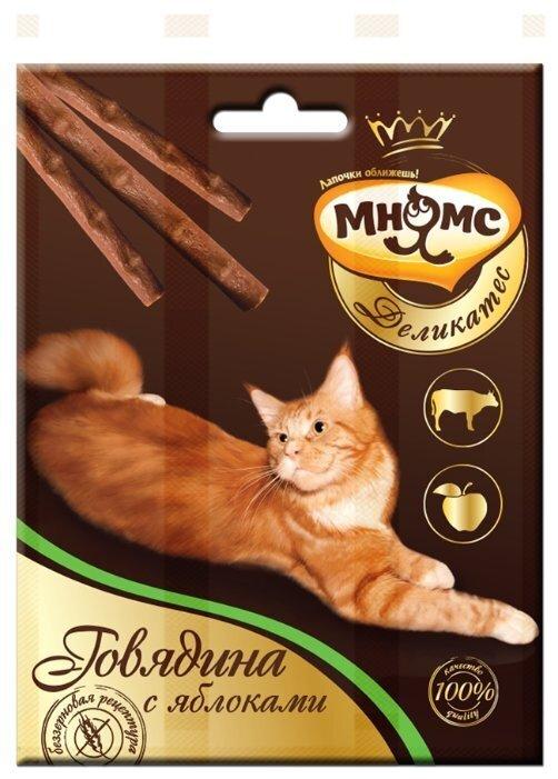 Мнямс лакомство для взрослых кошек всех пород, говядина и яблоко 12 гр, 1900100830