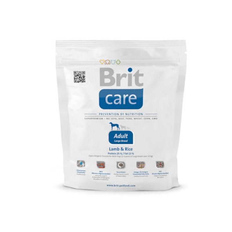 Brit Care корм для взрослых собак крупных пород, ягненок и рис 1 кг