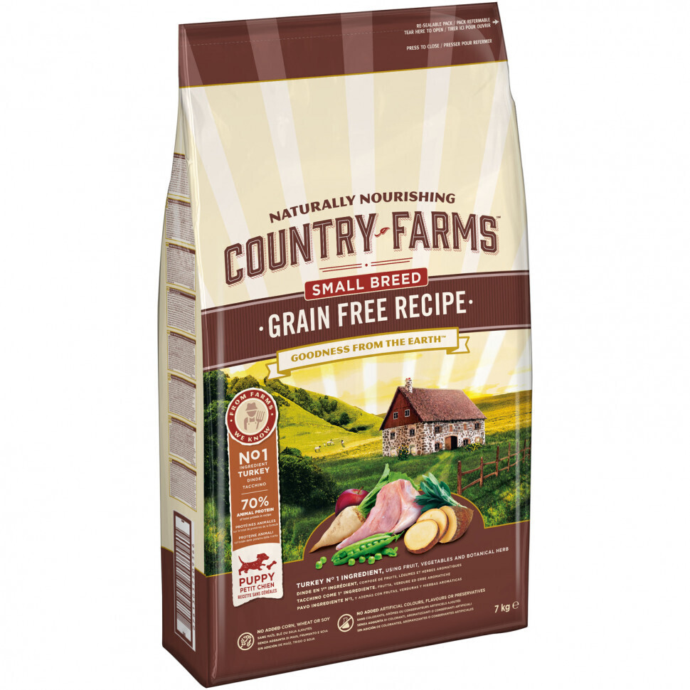 Country Farms корм для щенков малых пород, беззерновой, индейка 7 кг