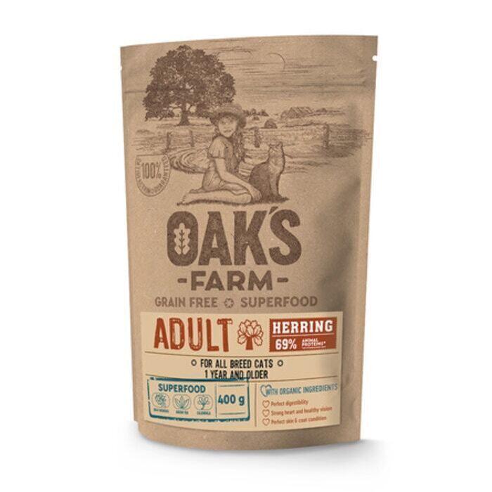 Oaks Farm GF сухой корм для кошек, сельдь 400 гр
