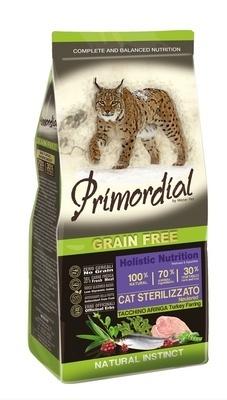 Primordial корм для взрослых стерилизованных кошек всех пород, беззерновой, индейка, сельдь 2 кг