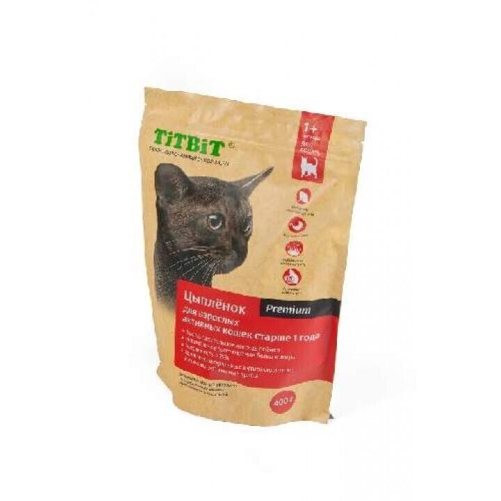 TiTBiT Сухой корм для активных кошек с цыпленком (9208), 0,400 кг, 25477
