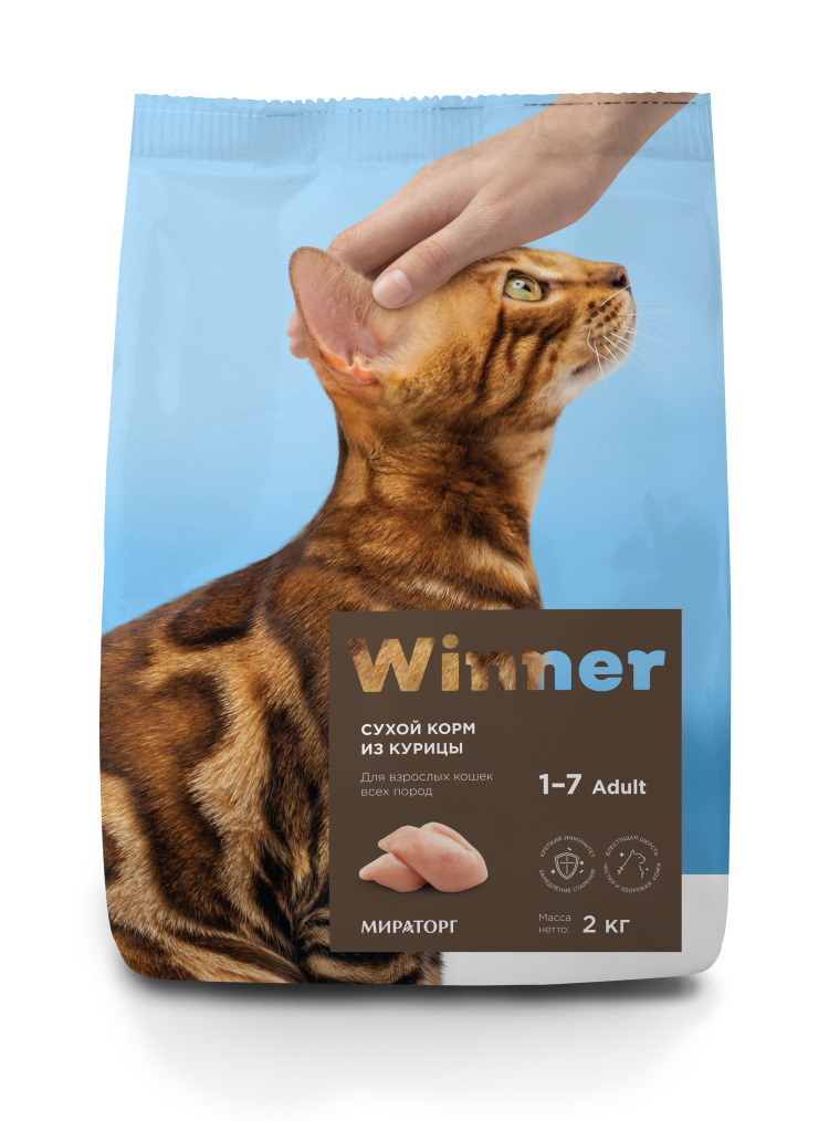 Winner корм для взрослых кошек всех пород, курица 2 кг