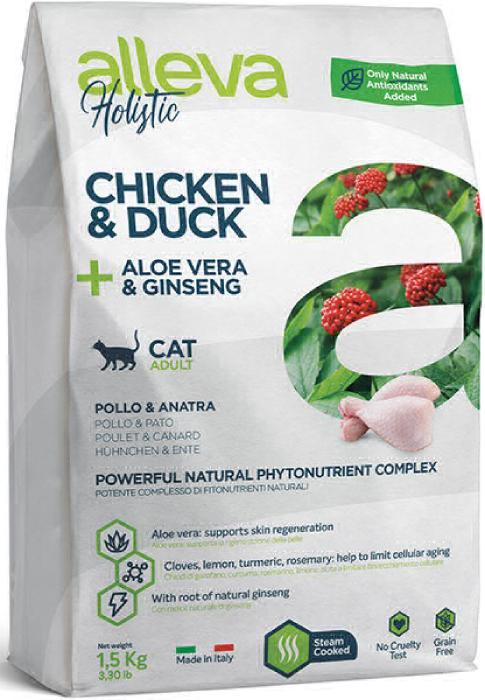 ALLEVA HOLISTIC CAT дк Adult Chicken & Duck  взрослых с курицей и уткой, алое вера и женьшенем 1,5 кг 2875