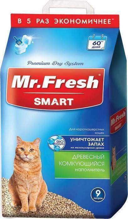 Mr.Fresh Smart древесный комкующийся наполнитель для кошек короткошерстных пород 9 л