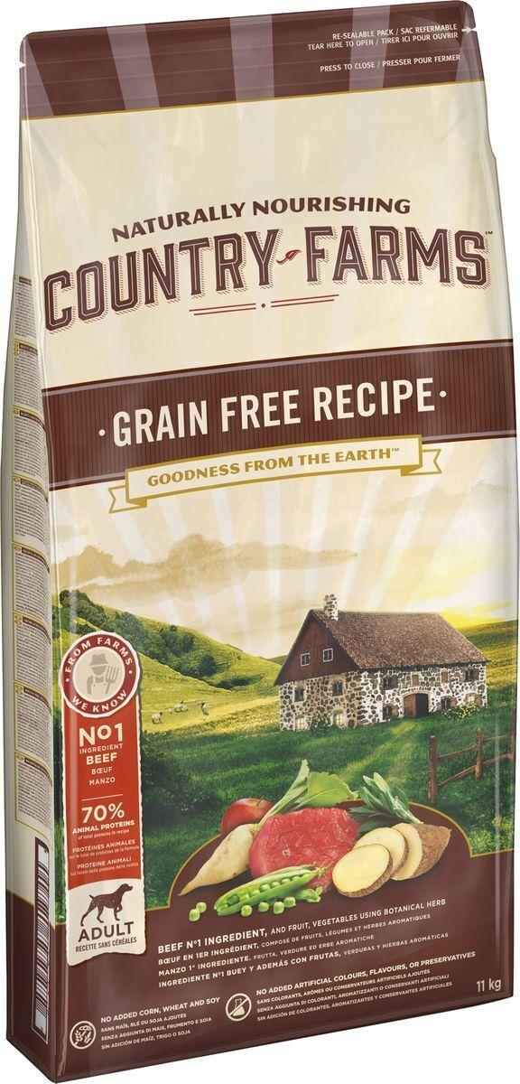 Country Farms корм для взрослых собак всех пород, беззерновой, говядина 11 кг
