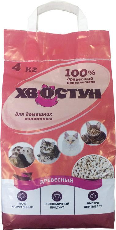 Хвостун древесный наполнитель для кошачьих туалетов 4 кг
