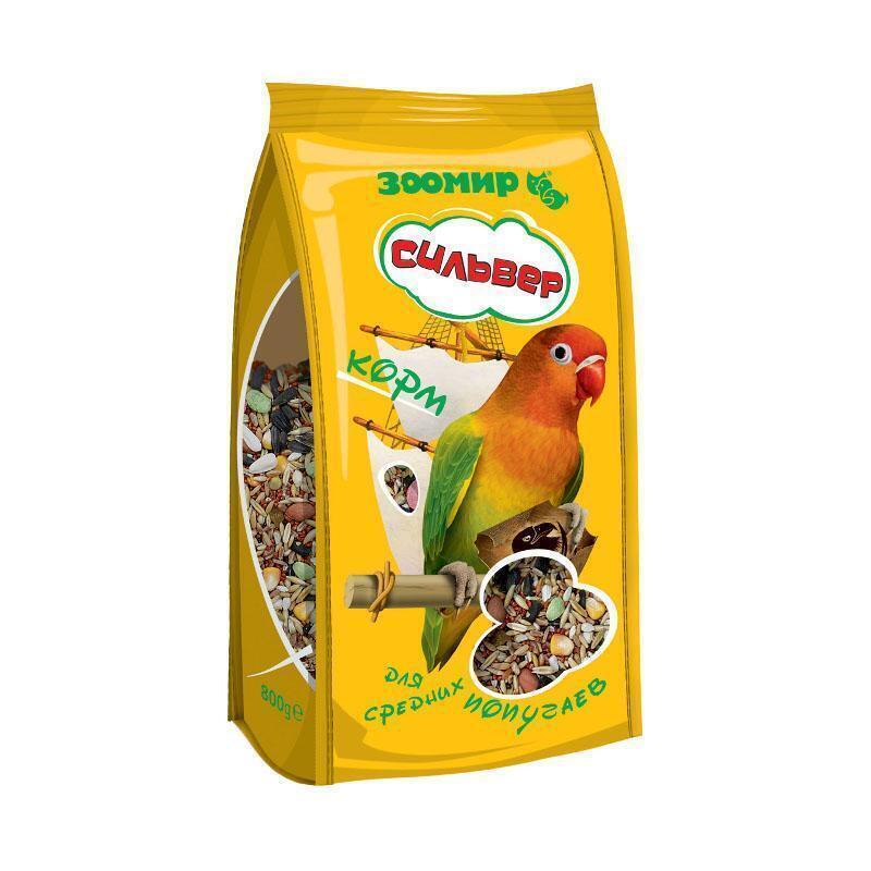 ЗООМИР Сильвер корм для средних попугаев 800гр ПАКЕТ 4634