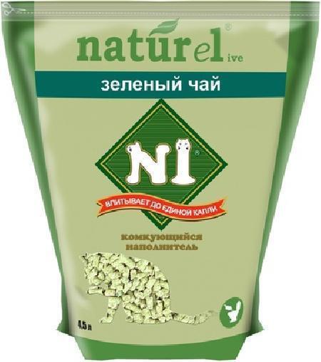 N1 комкующийся древесный наполнитель, зеленый чай 4,5 л