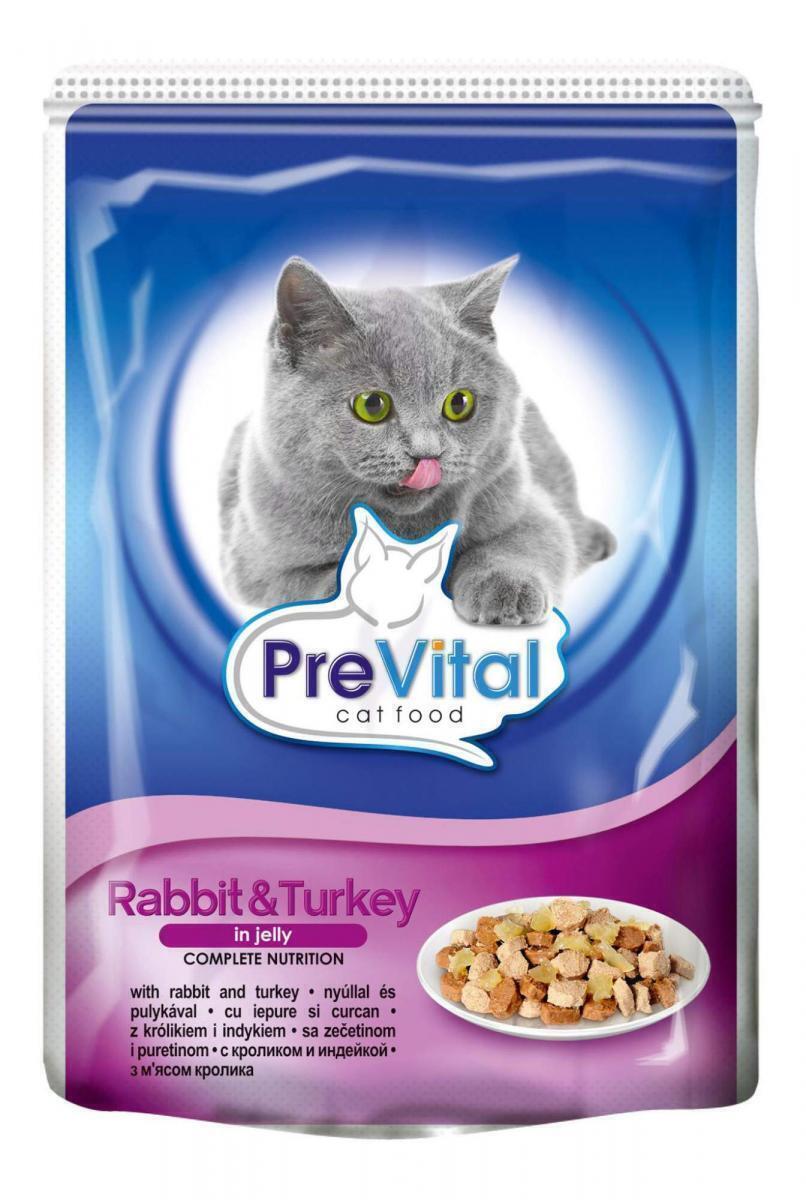 Prevital влажный корм для взрослых кошек всех пород, с кроликом и индейкой в желе 100 гр