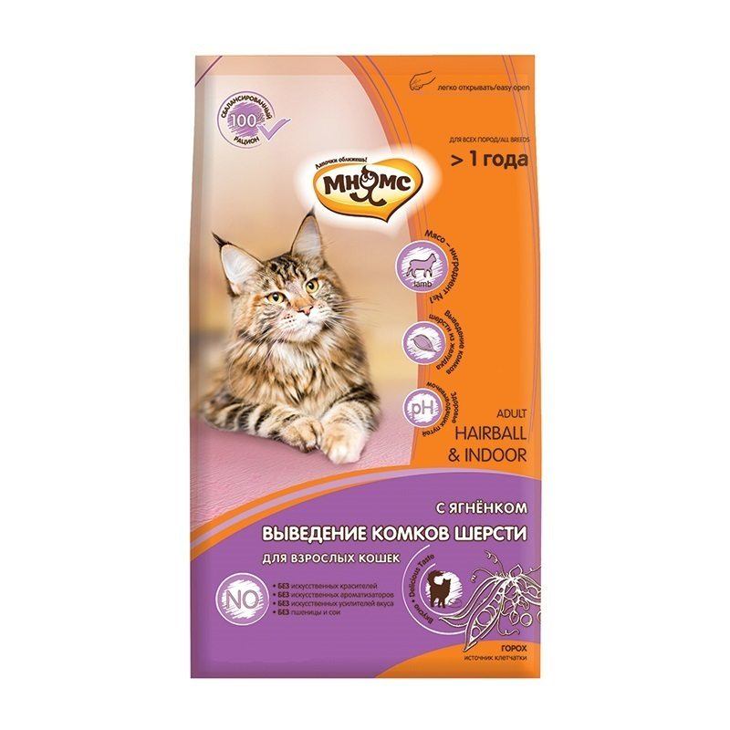 Мнямс корм для взрослых кошек всех пород, вывод комочков шерсти, ягненок и курица 400 гр