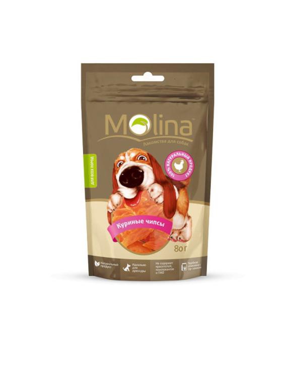 Molina лакомство для собак, куриные чипсы 80 гр