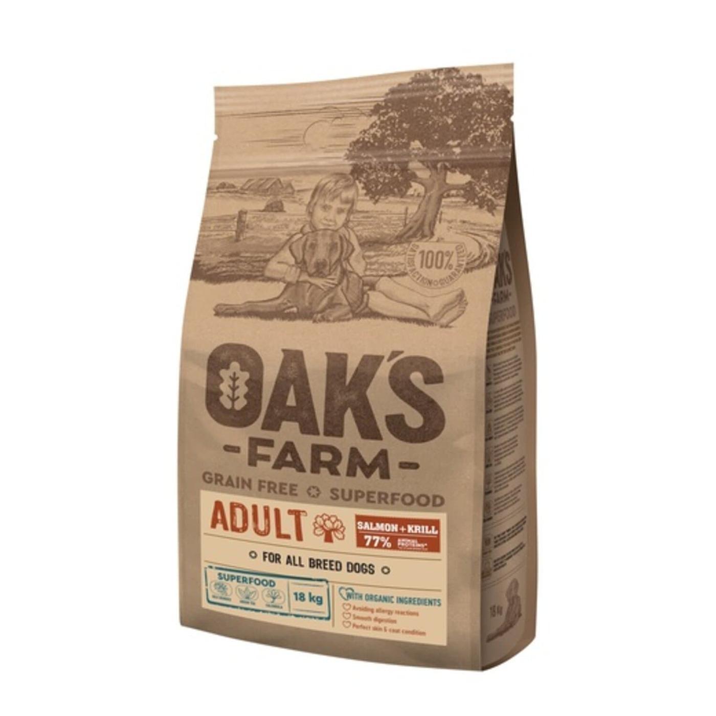 Oaks Farm GF сухой корм для собак всех пород, лосось и криль 18 кг