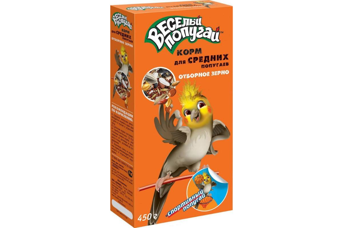 ЗООМИР Веселый попугай корм для средних попугаев отборное зерно 450гр 662