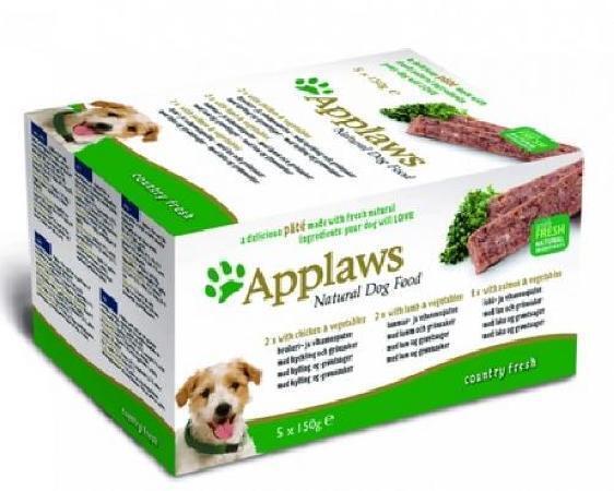 Applaws Набор для Собак Курица, Ягненок, Лосось: 5шт.*150г ( Dog Pate MP Country Selection -Chicken, Lamb, Salmon) 6256CE-A.., 0,750 кг, 10297