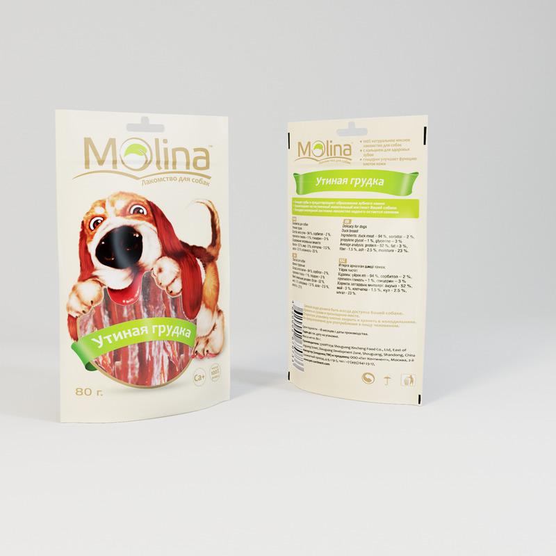 Molina лакомство для собак, утиная грудка 80 гр