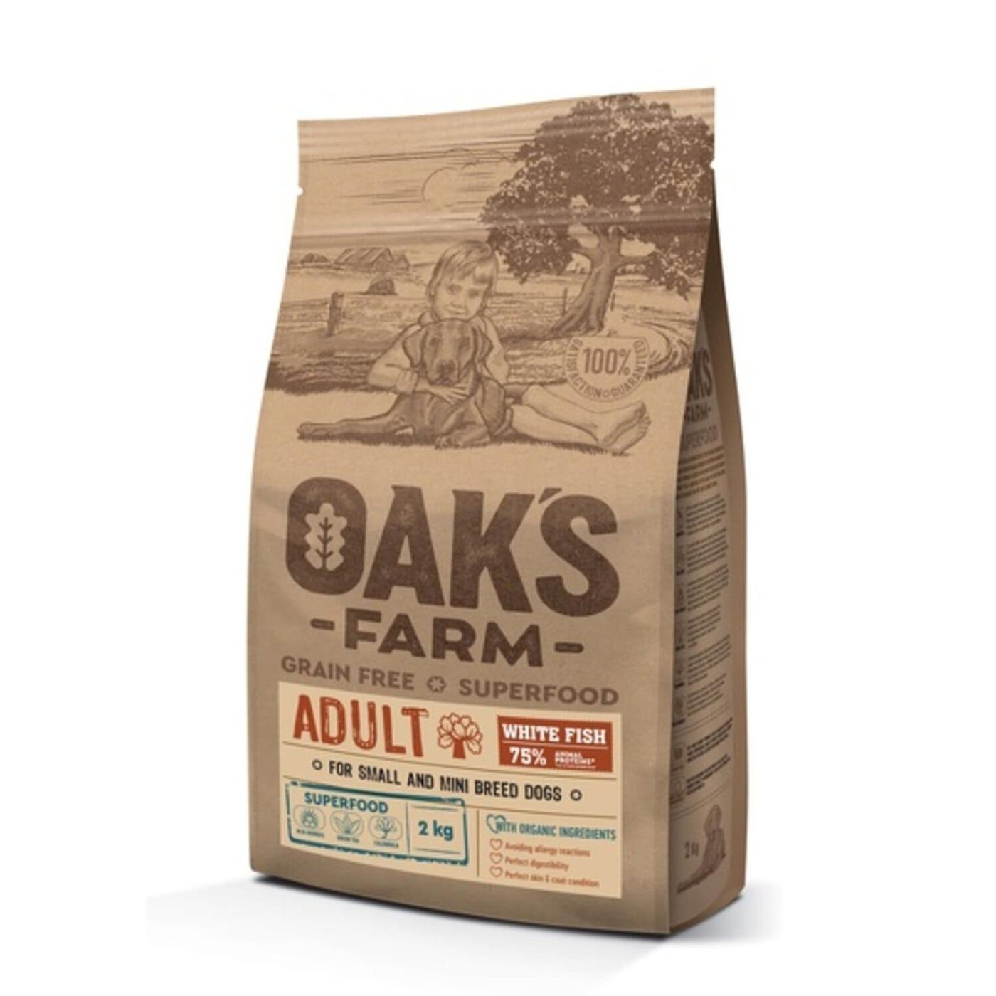 Oaks Farm GF сухой корм для собак мелких и карликовых пород, белая рыба 2 кг