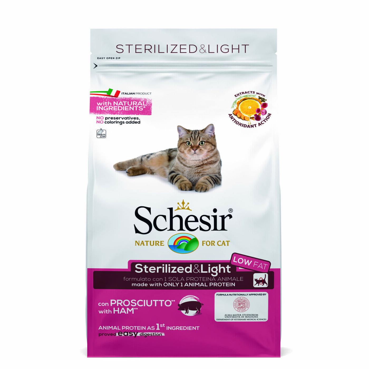 Schesir корм для взрослых стерилизованных кошек всех пород, ветчина 1,5 кг