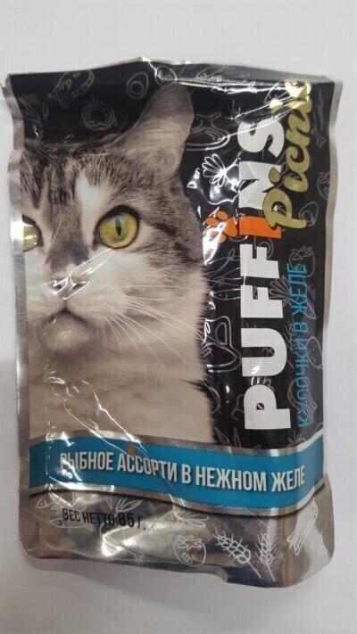 Puffins PICNIC консерв. 85г для кошек Рыбное ассорти ЖЕЛЕ 126