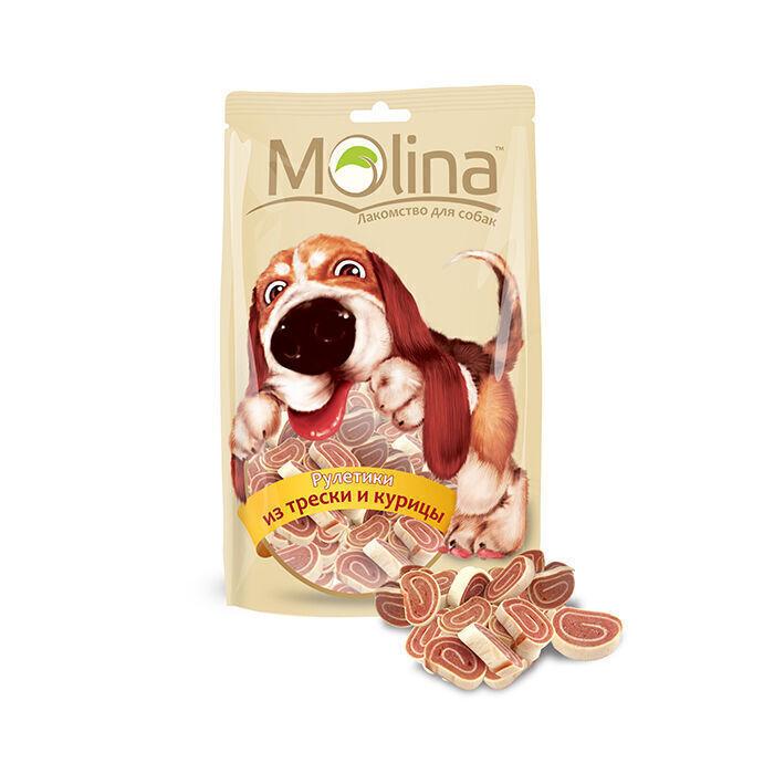 Molina лакомство для собак, рулетики из трески и курицы 80 гр