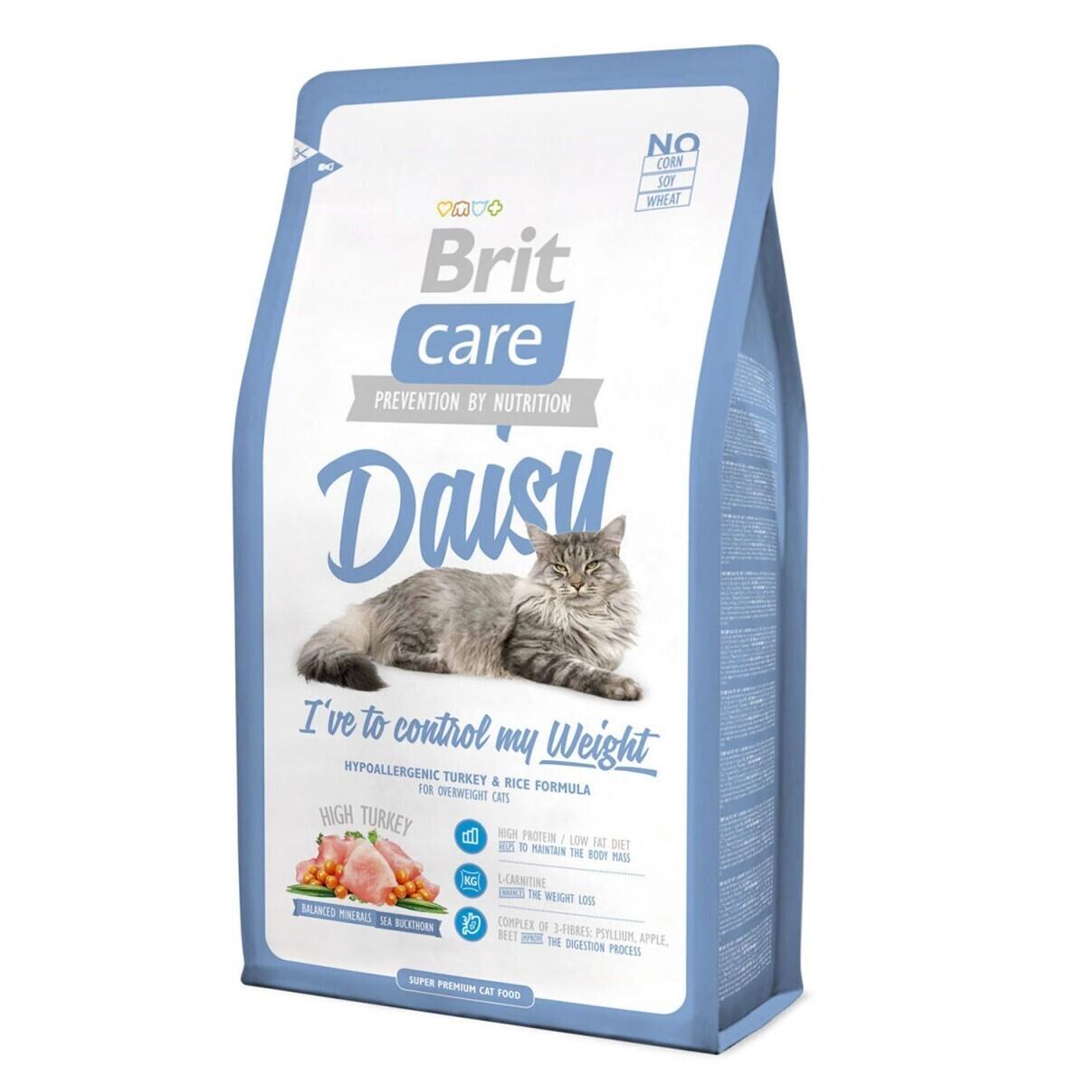 Brit Care корм для взрослых кошек всех пород, склонных к полноте, индейка с рисом 2 кг