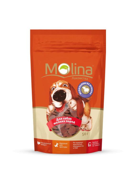 Molina лакомство для собак малых пород, медальоны из ягненка 50 гр