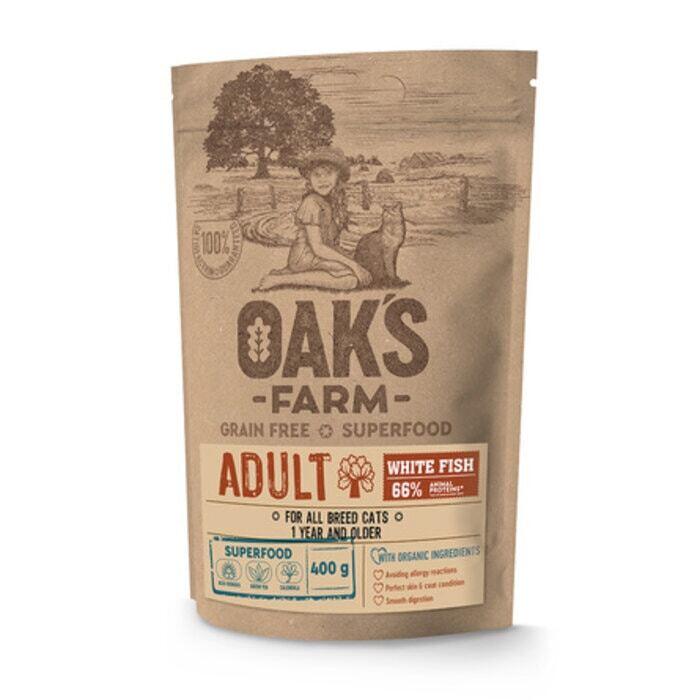 Oaks Farm GF сухой корм для кошек, белая рыба 400 гр