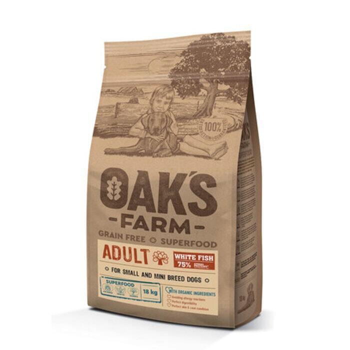 Oaks Farm GF сухой корм для собак мелких и карликовых пород, белая рыба 18 кг