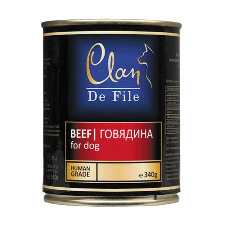 Clan De File влажный корм для взрослых собак всех пород, говядина 340 гр
