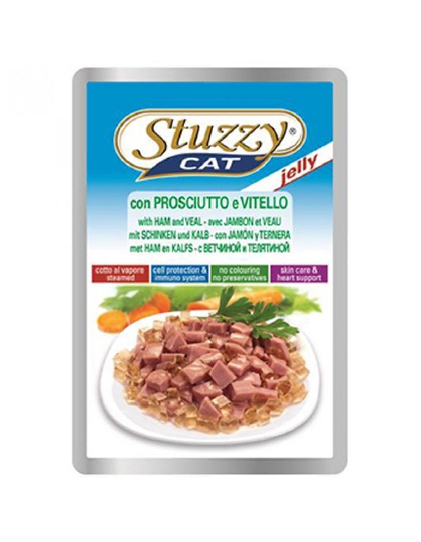 Stuzzy Cat влажный корм для взрослых кошек всех пород, с ветчиной и телятиной в желе 100 гр