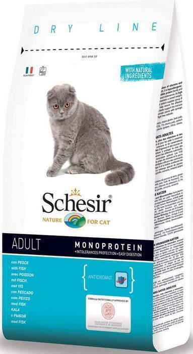 Schesir корм для взрослых кошек всех пород, рыба 10 кг