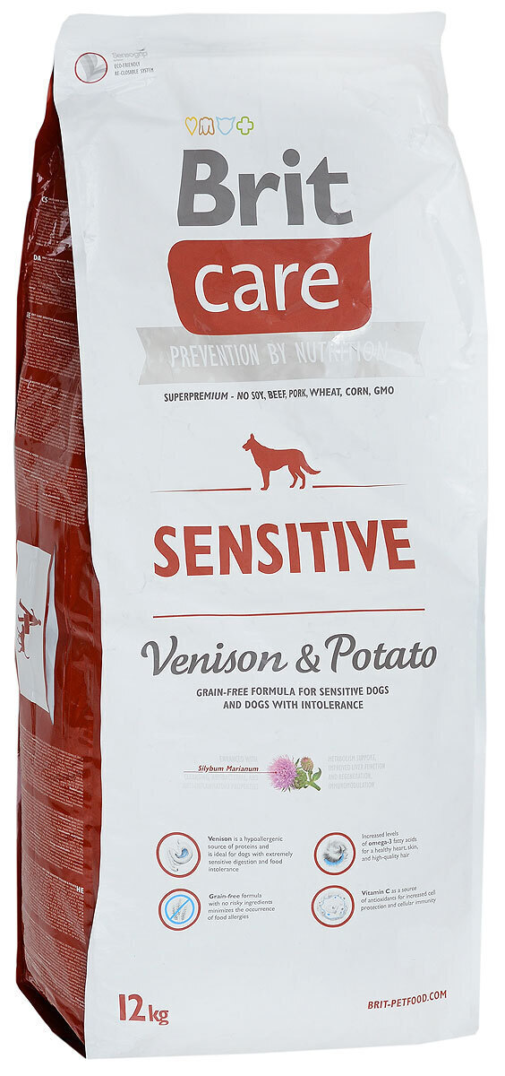 Brit Care корм для взрослых собак всех пород, чувствительное пищеварение, оленина с картофелем 12 кг