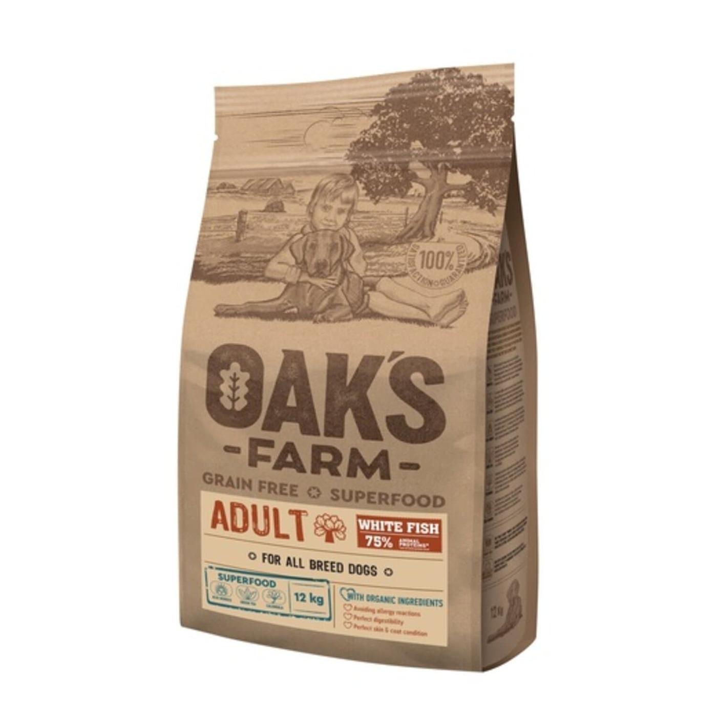 Oaks Farm GF сухой корм для собак всех пород, белая рыба 12 кг