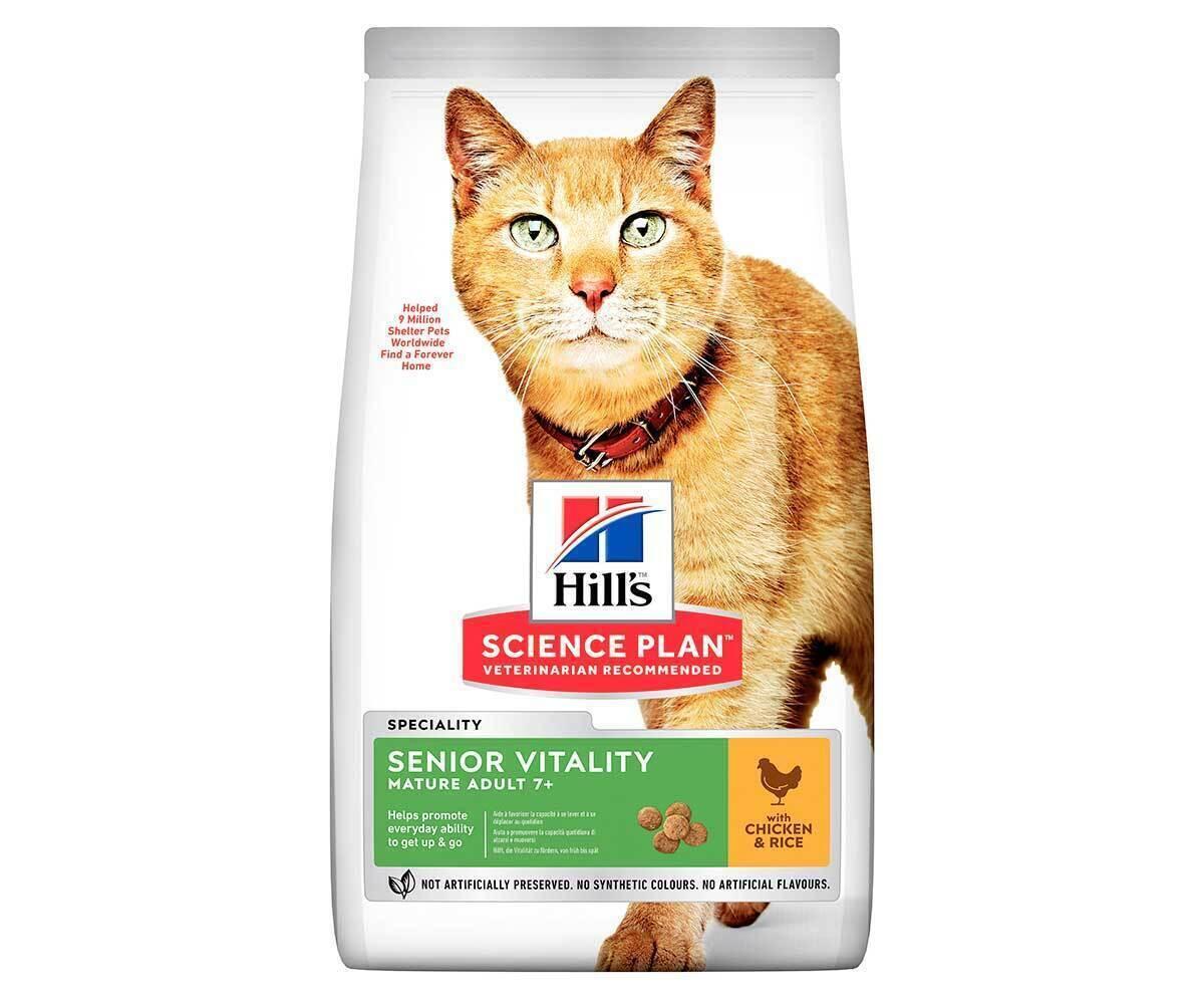 Hills Youthful Vitality корм для пожилых кошек всех пород, курица и рис 1,5 кг