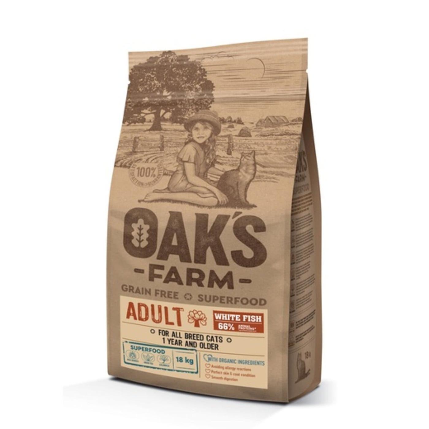 Oaks Farm GF сухой корм для кошек, белая рыба 18 кг