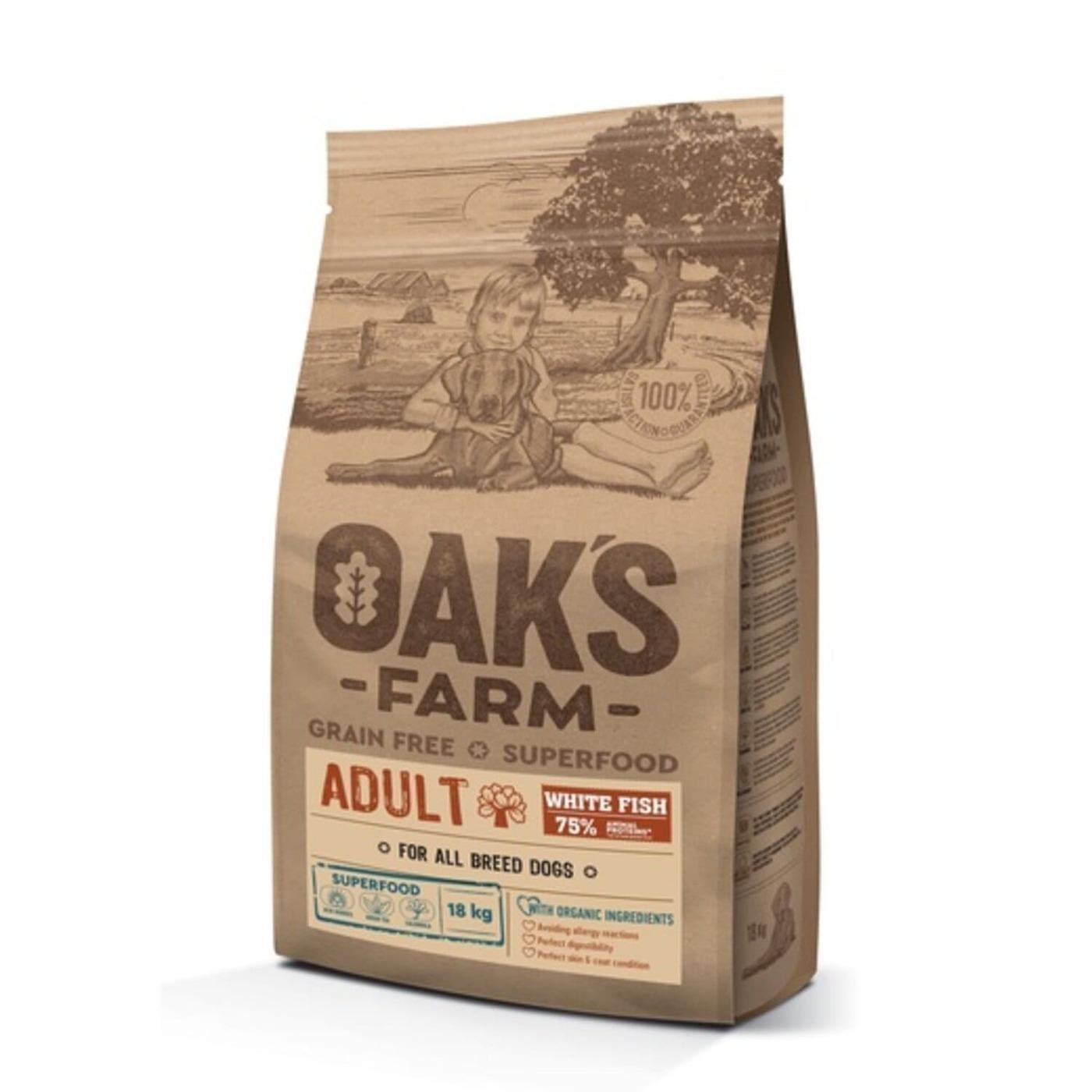 Oaks Farm GF сухой корм для собак всех пород, белая рыба 18 кг