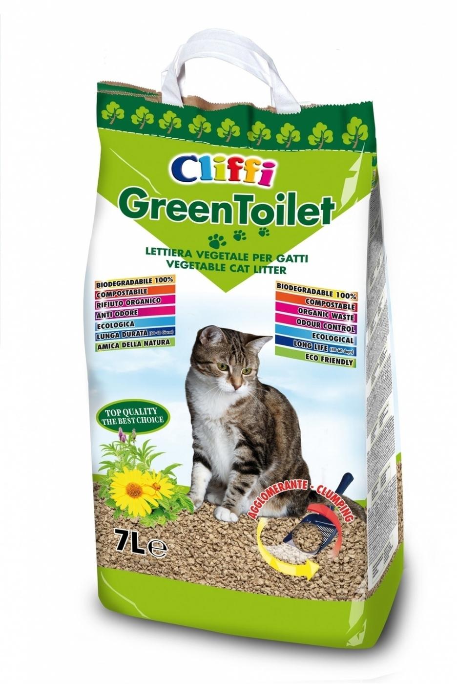 Cliffi (Италия) Комкующийся растительный наполнитель (GREENTOILET)  7л ACAV024, 2,100 кг, 20416