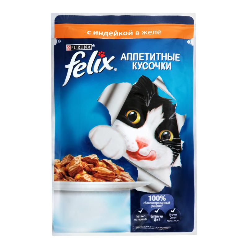 Felix влажный корм для взрослых кошек всех пород, индейка 85 гр