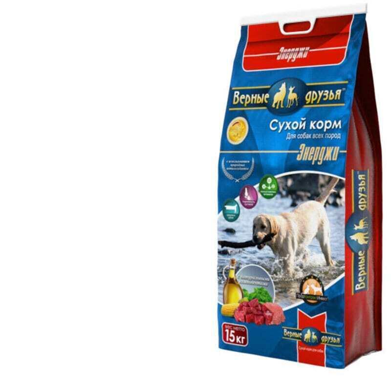 Верные друзья сухой двзрослых собак ЭНЕРДЖИ 15кг  (для активных собак)