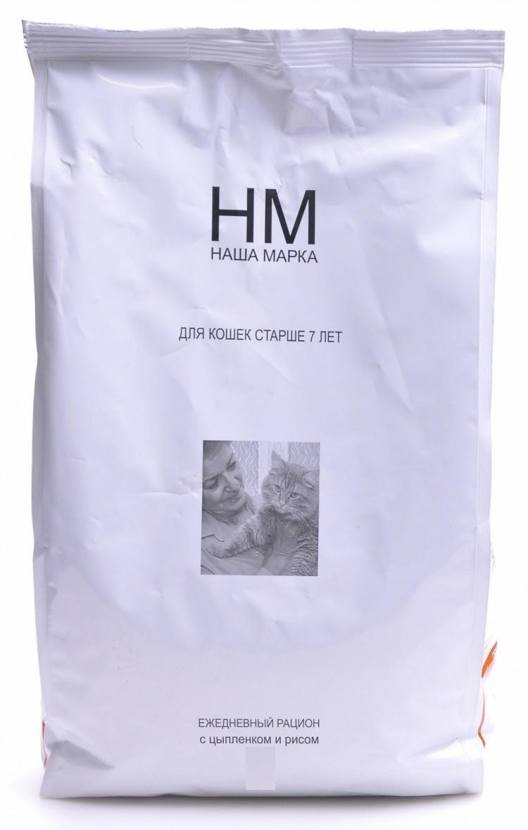 Наша Марка корм для кошек старше 7 лет с цыплёнком и рисом 15 кг