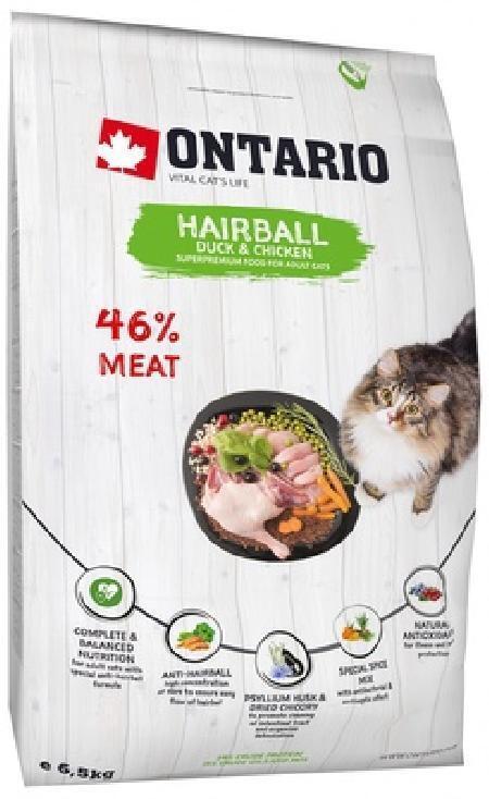 Ontario корм для кошек, для вывода шерсти, с уткой, с курицей 6,5 кг