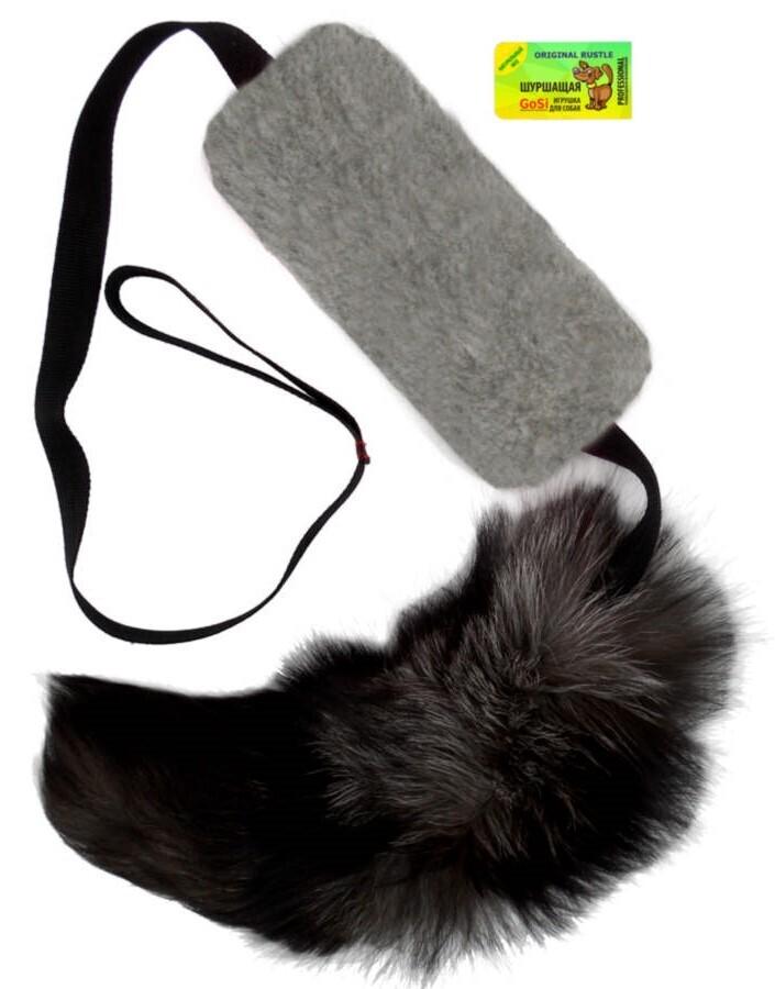 **GoSi sh-08090 Игрушка длЯ собак обак Шуршик серый с натуральным хвостом пушнина этикетка флажок