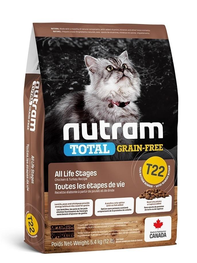 Nutram корм для взрослых кошек всех пород, беззерновой, индейка, курица и утка 5,4 кг