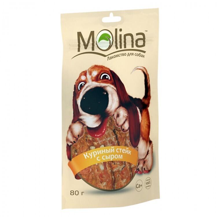 Molina лакомство для собак, куриный стейк с сыром 80 гр