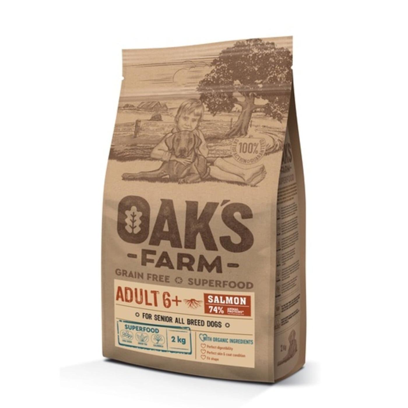 Oaks Farm GF сухой корм для собак 6+ всех пород, лосось 2 кг