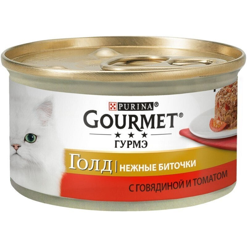 Gourmet Gold влажный корм для взрослых кошек всех пород, говядина с томатами 85 гр