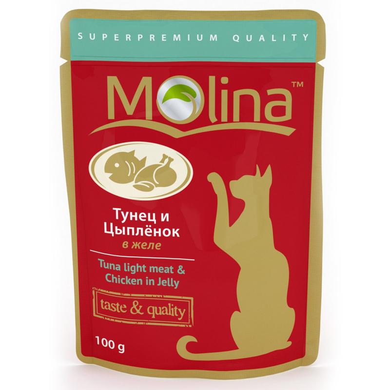 Molina влажный корм для взрослых кошек всех пород, тунец в желе 100 гр
